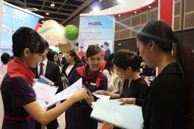 hong kong airlines hong kong to worldwide air tickets online job seekers ed the booth of hong kong airlines for consultation and submitted application forms and cvs at the event