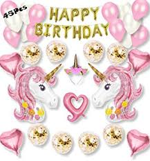 KHENERI, <b>Unicorn</b> Party <b>Balloon</b> Set, <b>Gold</b> Confetti <b>Balloons</b>, <b>Pink</b> ...