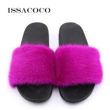 <b>ISSACOCO Women</b> Flat Solid Furry Slippers Real Rabbit Fur ...