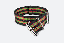 <b>Black</b> Green & <b>Red</b> Striped NATO-Style <b>Nylon</b> Watch Strap | MORA ...