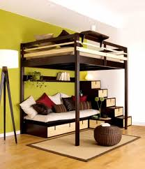 amazing white wood furniture sets modern design: high bunk beds with stairs and white bedding