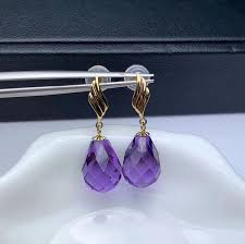 2019 <b>Shilovem 18K Yellow Gold</b> Piezoelectric Amethyst Stud ...