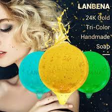 <b>LANBENA 24K Gold Handmade</b> Soap Hyaluronic Acid Seaweed ...