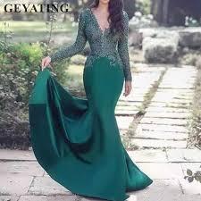 <b>Hunter Green</b> Long Sleeves Arabic Evening Dress <b>2019</b> Sexy V ...