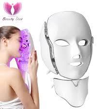 Beauty Star 7 Color <b>Photon Electric LED</b> Facial Neck <b>Mask</b> EMS ...