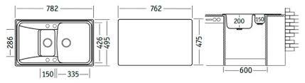 Купить Врезная <b>кухонная мойка</b> 78.2 см <b>UKINOX</b> Вятка <b>белый</b> по ...