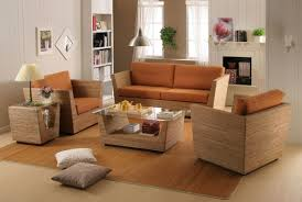 living room furniture decoration rattan wicker living room ideas studio comfortable orange removable upholster