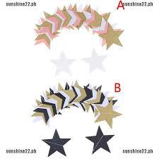 [SUN22]2.5M Gold <b>Glitter Paper</b> Garland Star Shape String <b>Banners</b> ...