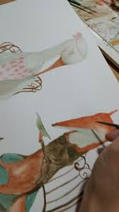 Painting <b>Mr Fox</b> and Miss Stork | My Drawings for Aseop Fables ...