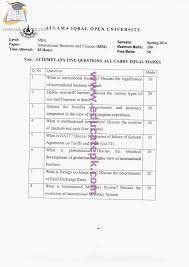 aiou old papers code course international business finance old paper 8536