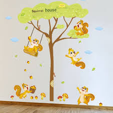 Amaonm Giant Green Tree Wall Decals Cute <b>Cartoon Animals</b> ...