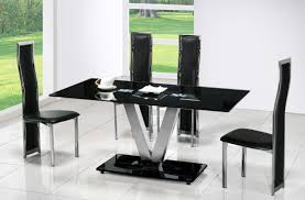 rectangle black glass table with v silver steel base combined leather chairs legs on the white amazing glass table top