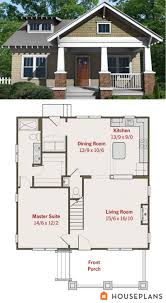 ideas about Small House Plans on Pinterest   House plans    Small craftsman bungalow floor plan and elevation