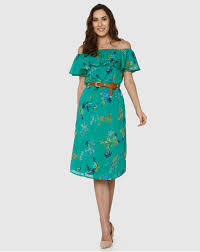 Buy Women Green All Over Floral <b>Print Off Shoulder</b> Midi Dress ...