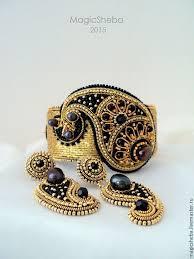 Комплект <b>браслет</b> и серьги, вышитые золотом Огурец-2 ...