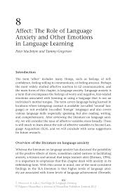 affect the role of language anxiety and other emotions in inside