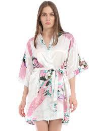 Ситцевый <b>домашний халат с рисунком</b> павлина и с поясом | SHEIN