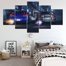 <b>5</b> Piece <b>HD Print Large</b> Skyline Gtr VS Supra Car Modern ...