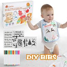 Lictin DIY <b>Baby</b> Bibs Set - <b>10Pcs</b> White Cotton <b>Waterproof</b> Bibs for ...