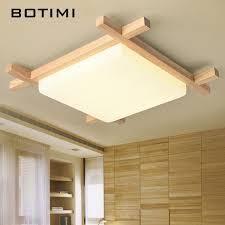 2019 <b>BOTIMI Nordic LED</b> Wooden <b>Ceiling</b> Lights In Square Shape ...