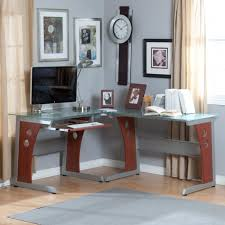 interior design large size unique modern glass top desk design that applied grey and also blue glass top modern office