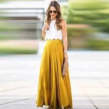 Summer <b>Women</b> Long Maxi Skirt Office Stretch Skater Flared Chiffon ...