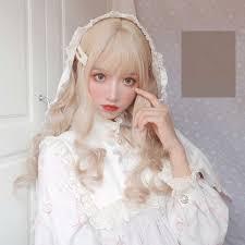 <b>MANWEI Lolita Wigs</b> With Bangs Maroon Blonde Long Wave Wigs ...