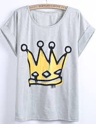 Grey Short Sleeve Imperial <b>Crown</b> Print T-Shirt 9.90 | Camisas ...