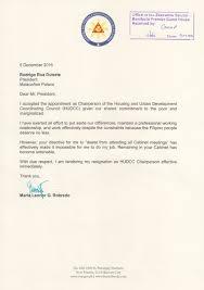 leni robredo tenders resignation from duterte s cabinet resignation letter of vice president leni robredo from the cabinet of president rodrigo duterte as released by her office