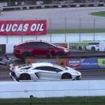 Watch: Tesla Model X Takes on Lamborghini Aventador SV in Epic Drag Race