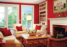 room paint red: interior design terrific psychology of color in interior design with red room color themed family room as well as comfortable white sofa and arm chairs