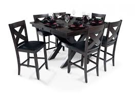 dining room pub style sets: a dining room set with  piece x factor pub asian hardwood solids with birch veneers on table top in a dark espresso finish with light distressing