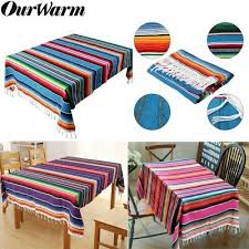 <b>OurWarm Mexican</b> Serape <b>Blanket</b> Tablecloth Cotton Table Cloth ...