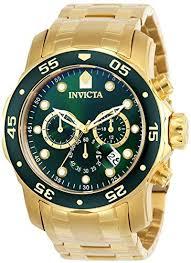 Invicta <b>Men's</b> 0075 Pro Diver Chronograph <b>18k Gold</b>-Plated <b>Watch</b>