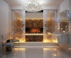 glamorous bathroom design ideas with fireplace and white bathtub which has double glass sliding doors and bathroomglamorous glass door design ideas photo gallery