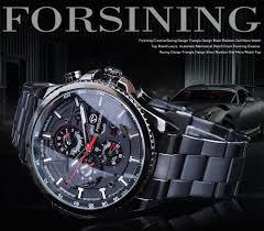<b>Forsining</b> Three Dial Calendar Stainless Steel <b>Men</b> Mechanical ...