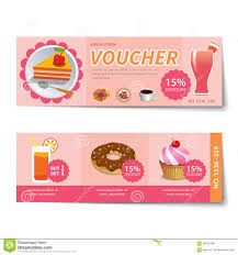 set of coffee and bakery coupon discount template design stock bakery voucher discount template design royalty stock image