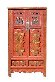 <b>Gold</b> Flower Painting Carving Armoire Red <b>Chinese Antique</b> ...
