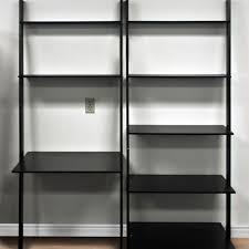 leaning shelf bookcase with computer desk office furniture home desk wood black metal computer desk