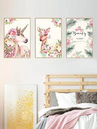 <b>Unicorn</b> Deer <b>Floral</b> Print Wall Art Stickers - multicolor | bedrooms in ...