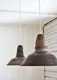 vintage industrial pendant lights love this shabby effect against rustic white walls antique industrial pendant lights white
