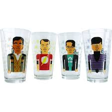 big bang theory pixelated group glass set 5.jpg Big Bang Theory Pixelated Group Glass Set