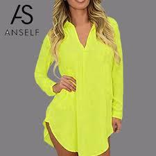 Anself 6XL <b>Fashion Autumn</b> Casual <b>Chiffon</b> Shirt Dress Long ...