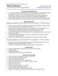 resume for heavy equipment operator samples of resumes heavy equipment operator resume examples samples resume examples fi