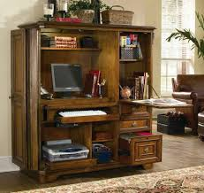wooden computer armoire with computer and floral carpet and wooden floor for your home office decor awesome wood office desk classic