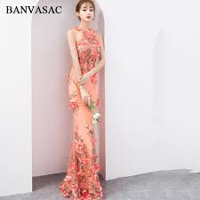 <b>BANVASAC 2018 Halter</b> Lace Flowers Appliques Mermaid Long ...