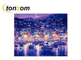 <b>RIHE Night</b> Town <b>Diy</b> Painting By Numbers Beach Boat Oil Painting ...