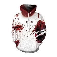 Unisex <b>Halloween</b> Pullover Sweatshirts 3D <b>Blood</b> Drop Printed Long ...