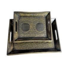 Eurasia Impex Iron Tray 2 <b>Pc Set Vintage</b>, Size: 25-41 Cm   ID ...