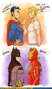 superman and captain america vs batman and iron man yeah tony would likely call batman iron man fanboy